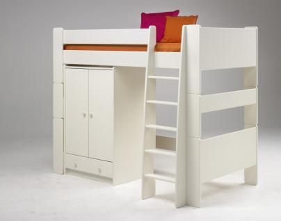 Kinderbett Schrank Set Kleiderschrank Hochbett Kinderzimmer MDF weiß lackiert