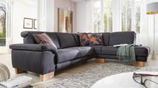 Polsterecke Couch Sofa Ecksofa Stoff schwarz Textilsofa Holzfüße