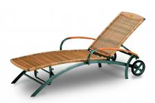Liege Sonnenliege Gartenliege Rollliege Aluminiumgestell Geflecht Teakholz