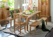 Essgruppe Esszimmergruppe Tisch Bank Stühle Esszimmer Eiche massiv geölt natur