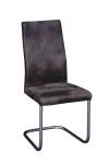 Swingstuhl 2 er SET Edelstahl gebürstet Microfaser Stuhl Sessel Polyester braun