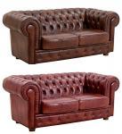 Sofa Couch Ledersofa 2-stizig Leder Wischleder vintage rot braun old England