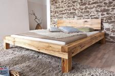 Bett Doppelbett Balkenbett Wildeiche massiv Schlafzimmer Balken rustikal 200x200