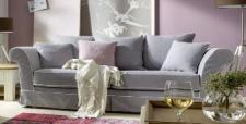 Sofa Couch 2, 5-Sitzer lichtgrau mit Keder reinigungsfähig romantisch Landhaus