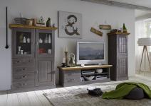 Wohnwand TV Wand Wohnzimmer Set Vitrine Schrank TV-Board Kiefer massiv Landhaus