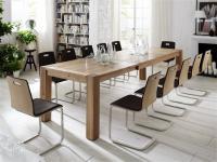 Essgruppe Tisch mit Auszug Stühle Lederbezug Esszimmer Eiche massiv natur geölt