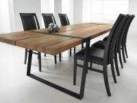 Tisch Esstisch Esszimmertisch Eiche Wildeiche massiv natur geölt Eisen schwarz