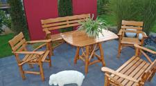 Knüppelholzgarnitur Gartenmöbel-Set Gartengruppe Gartenmöbel Garten-Set 4teilig