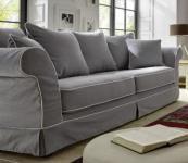 Sofa Couch 3-Sitzer lichtgrau mit Keder reinigungsfähig romantisch lose Kissen