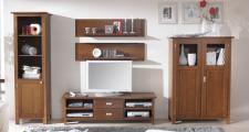 Wohnwand Wohnzimmerwand Wohnzimmer Buche massiv Landhaus lackiert