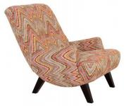 Sessel Liegesessel Relaxsessel mit Hocker Retro Stil natur bunt Muster