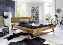 Bett Doppelbett Balkenbett Wildeiche massiv geölt Balken rustikal versch. Größen