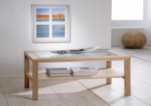 Couchtisch Beistelltisch Wohnzimmer Sofatisch Glasplatte Buche massiv lackiert