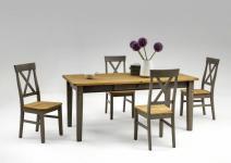Tischgruppe Esszimmergruppe Esszimmer Kiefer massiv grau gebeizt Landhaus