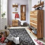 Garderobenmöbel Set Kombi Schuhschrank Garderobe Balkeneiche massiv natur geölt