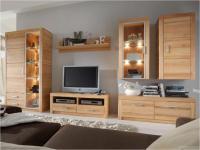 Anbauwand Wohnwand Wohnzimmer 6-teilig Kombi 2 Kernbuche oder Wildeiche massiv
