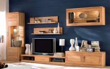 Wohnwand Wohnzimmer TV-Board Wandboard Vitrine Hängeschrank Kernbuche massiv