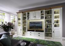Wohnwand Bibliothek Kiefer Wildeiche massiv Wohnzimmer System planbar weiss