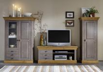 Wohnwand Wohnzimmer Set Wohnzimmerset Kiefer massiv grau laugenfarbig