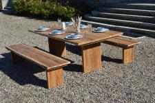 Gartengruppe Gartengarnitur Teak massiv Baumkante 3tlg Essgruppe Gartenmöbel FSC