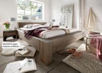 Bett massives Doppelbett mit Wuchsrissen Eiche Balkeneiche räucher öl rustikal