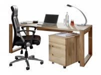 Schreibtisch mit Rollcontainer Büro Kernbuche massiv geölt made in Germany