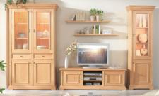 Wohnwand Wohnraum Wohnzimmer Vitrine TV-Möbel Fichte massiv honig gewachst