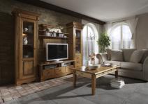 Anbauwand Wohnwand Wohnzimmer TV-Regal Landhausstil Kiefer massiv patiniert