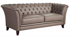 Sofa Couch 2, 5-Sitzer Ledersofa Leder grau stein graphit Chesterfield Echtleder