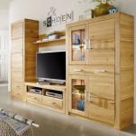 Anbauwand Wohnwand Wohnzimmer 4-teilig Kombi 1 Kernbuche oder Wildeiche massiv