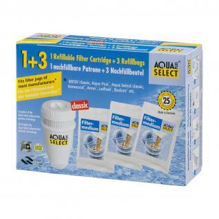 1 Nachfüllbare Wasserfilterpatrone mit 3 refill Packungen Nachfüllgranulat