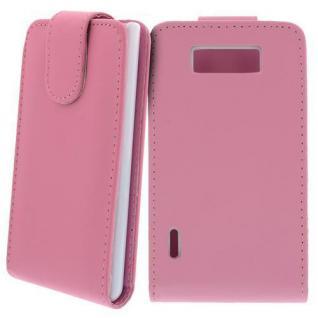 Für LG P700 Optimus L7 Handy Flip Case Tasche Hülle Schutz Pink NEU