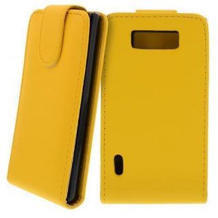 Für LG P700 Optimus L7 Handy Flip Case Tasche Hülle Schutz Gelb NEU