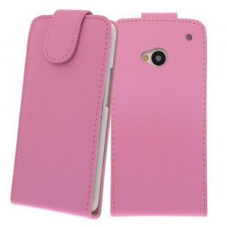 Für HTC One M7 PINK - Kunstleder Tasche, Handytasche, Case, Hülle, Cover, NEU
