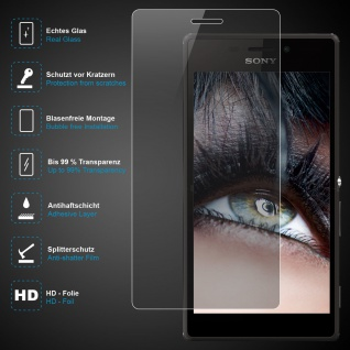 Premium Schutzglas für Sony Xperia M2, Echtes Glas, 0, 3mm, 99% transparent, NEU