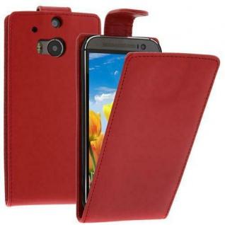 Flip Case Handytasche für HTC M8 in ROT - Smartphonetasche Case Cover Tasche NEU