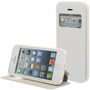 Kunstleder Handytasche für Apple iPhone 5C Weiß mit Fenster, Display Klappe, Dün