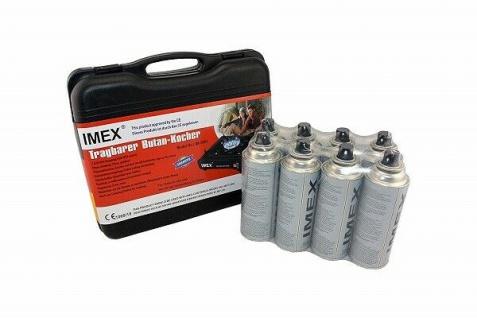 IMEX Camping Gaskocher Set Butan-Kocher Klein Tragekoffer mit 8 Gaskartuschen