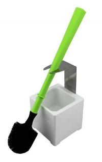 Mr. Sanitär Spezial 3 tlg. WC-Garnitur Grün, Wand- /Bodenhalter, 2x Borstenkopf