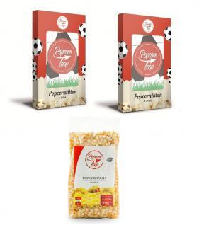 POPCORNLOOP Zubehör-Set: 12 x Fußball Popcorntüten und Mais (500g)!!