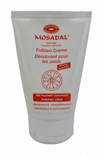 Mosadal Fußdeo Creme 100ml - Naturkosmetik PEG-frei mit frischem Zitronenduft