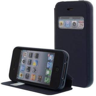Kunstleder Handytasche für Apple iPhone 4S / 4G Blau mit Fenster, Displayklappe, D - Vorschau