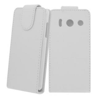 Für Huawei Ascend Y300 WEIß - Kunstleder Tasche, Handytasche, Case, Hülle, Cover