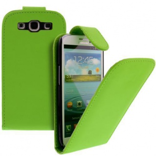 Für Samsung Galaxy S3/i9300 Handy Flip Case Tasche Hülle Grün Tasche