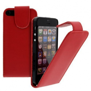 Für Apple iPhone SE 5 Handy Flip Case Tasche Hülle Schutz Rot Tasche