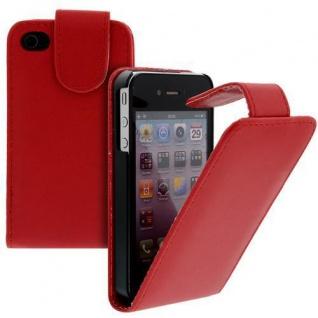 Für Apple iPhone 4/4S Handy Flip Case Tasche Hülle Schutz Rot Tasche