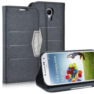 Bookstyle Case für Samsung Galaxy S4 mini i9190 Anthrazit Schwarz Cover Etui NEU