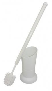 WC-Garnitur, WC-Sanitärbürste mit Köcher Vase in Farbe Weiß für bequeme Menschen