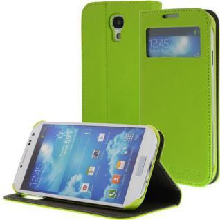 Kunstleder Bookstyle Handytasche für Samsung Galaxy S4/i9500 mit Fenster, Grün, N