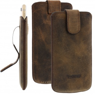 Für Apple iPhone 6 Handy ECHT LEDER Tasche Case Etui Schutz - Antik Kaffeebraun